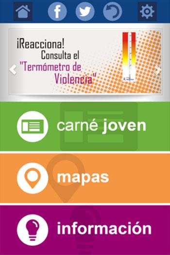 Captura de pantalla de la aplicación del carné joven de Castilla y León