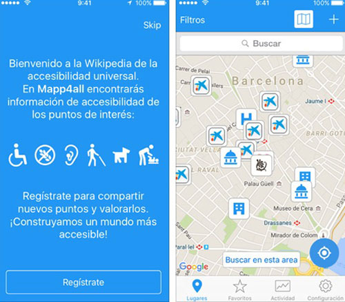 Captura de pantalla de la aplicación sobre accesibilidad