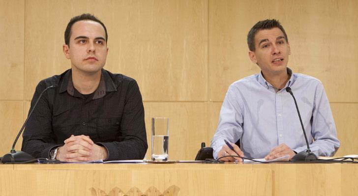 Los concejales del Ayuntamiento de Madrid José Manuel Calvo y Pablo Soto