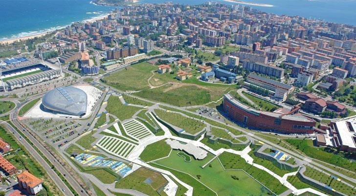 Vista aérea de parte de la ciudad de Santander