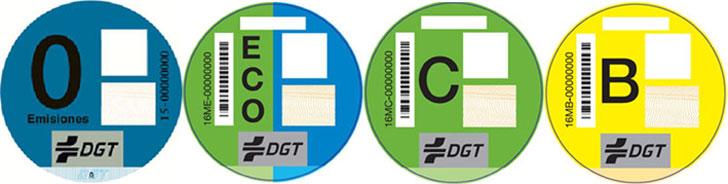 Etiquetas de clasificación de vehículos según su potencial contaminador