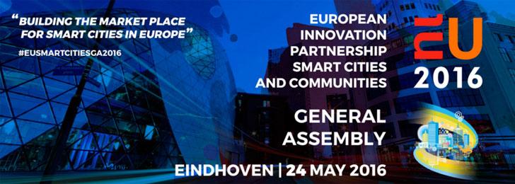 Cartel que anuncia el evento sobre las smart city bajo la organización de la Comisión Europea