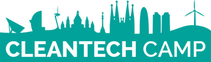 Logotipo de la convocatoria del programa Cleantech Camp con un dibujo del skyline de Barcelona