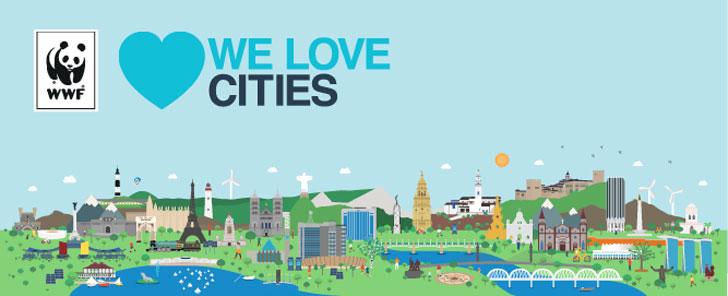 Vectores de paisaje con el nombre de la iniciativa We Love Cities