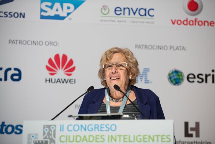 Manuela Carmena, alcaldesa de Madrid, durante su intervención en el II Congreso Ciudades Inteligentes