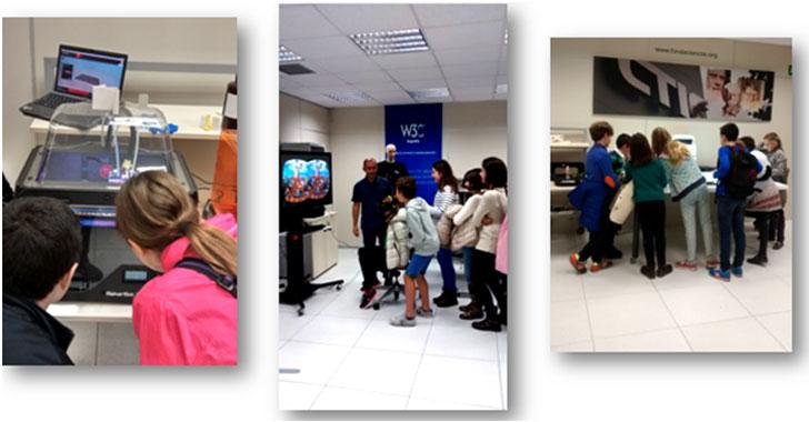 alumnos y alumnas visitando instalaciones CTICSmartLAB