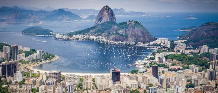 Vista aérea de Río de Janeiro en Brasil