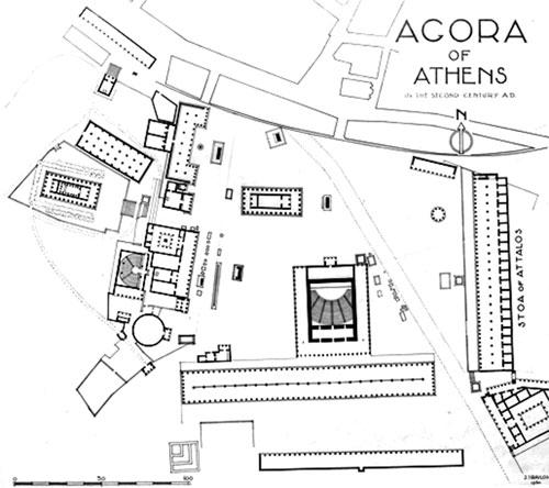 Ágora ateniense, siglo II a.C.