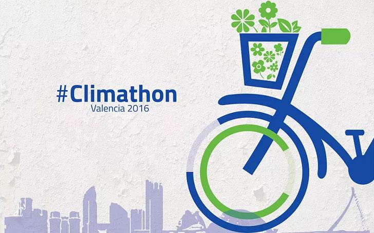 Vectores con una bicicleta por la ciudad de Valencia y el logo de Climathon