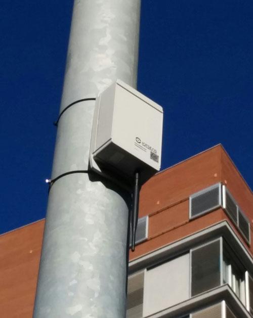 Sensor situado en una farola de Castellón de la Plana