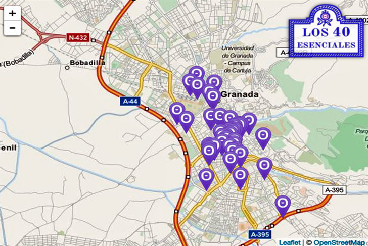 Mapa de las balizas instaladas bajo el programa 'Los 40 esenciales'