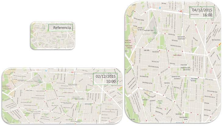 Deformación del área central de Madrid según los tiempos de recorrido registrados