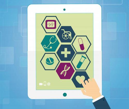 Tablet con aplicaciones de salud utilizada por un usuario