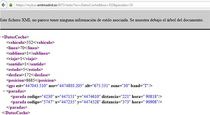 Información que ofrece el servicio Opendata myBus de EMT Madrid
