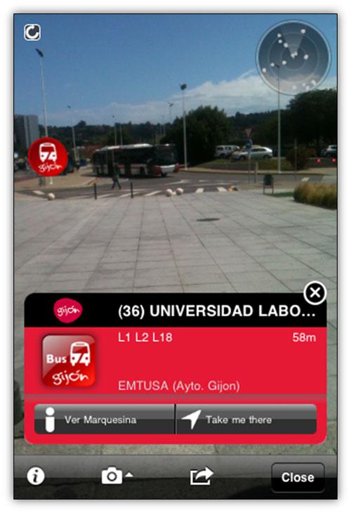 Captura aplicación LAYAR. Bus Gijón
