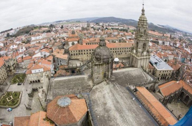 Imagen aérea del centro histórico de Santiago de Compostela