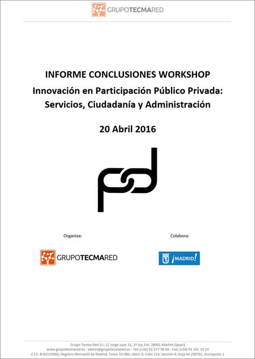 Portada del Informe de Conclusiones Workshop Innovación en Participación Público Privada: Servicios, Ciudadanía y Administración