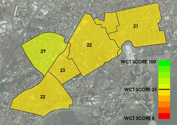 WCT Score medio por barrios