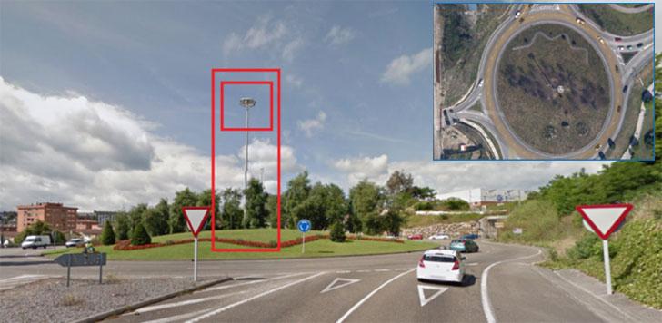 Posición del poste que sostiene el sistema de cámaras de vigilancia