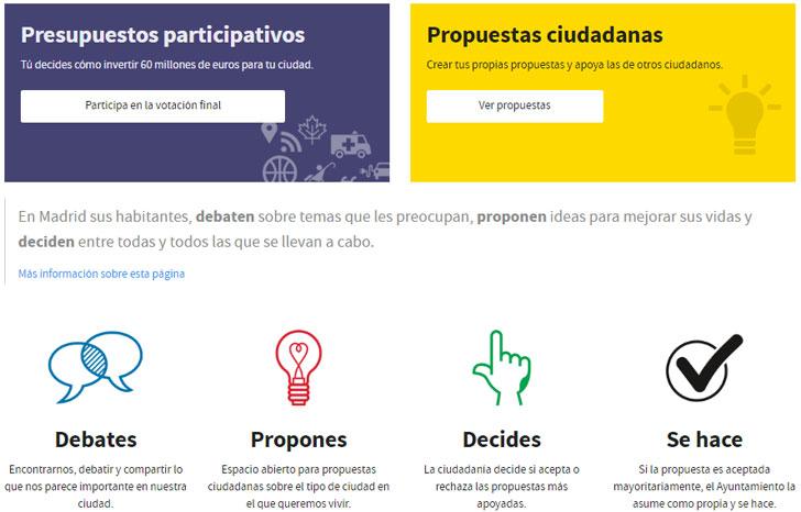 Captura de pantalla del portal Madrid Decide de participación ciudadana