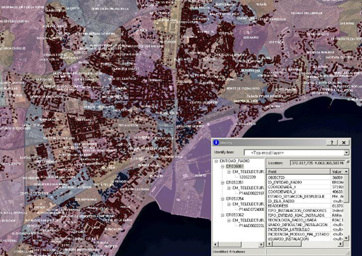 Captura de pantalla de la aplicación del sistema de telelectura de Málaga