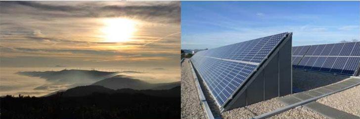 Plan Energético Horizonte 2030 de Navarra. Parque de energía fotovoltaica y paisaje con sol