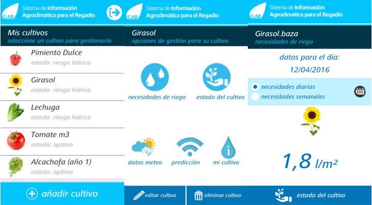 Aplicación del MAGRAMA para regantes, agricultura, visible en smartphones. Captura pantallas de la aplicación