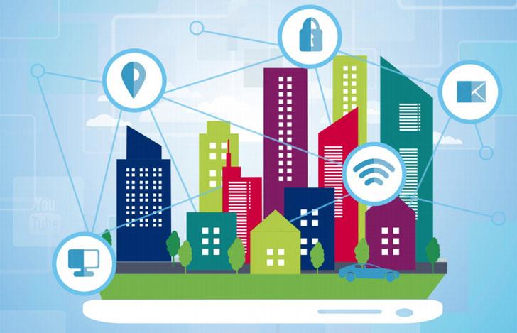 Desarrollo de Metodología y Estudio sobre los Niveles de Interoperabilidad de las Principales Plataformas de Gestión de Servicios de las Ciudades Inteligentes. Infografía con una ciudad conectada entre sí