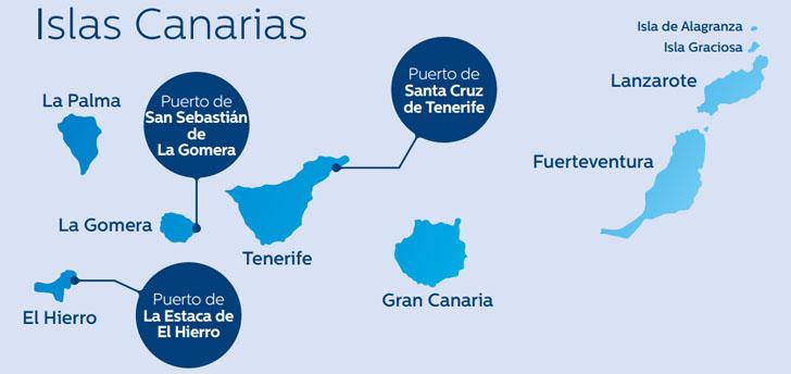Gestión inteligente del alumbrado en puertos de la Comunidad Canaria. Mapa del Archipiélago con los puertos en cuya gestión de alumbrado se ha intervenido.