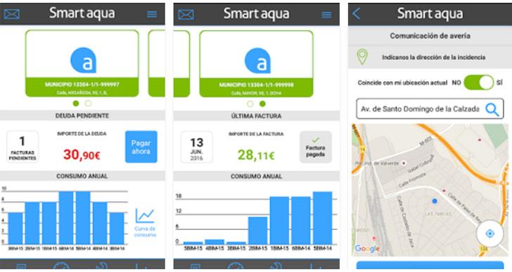 Los salmantinos disponen de la aplicación Smart Aqua para gestionar su servicio de agua. Captura de la aplicación