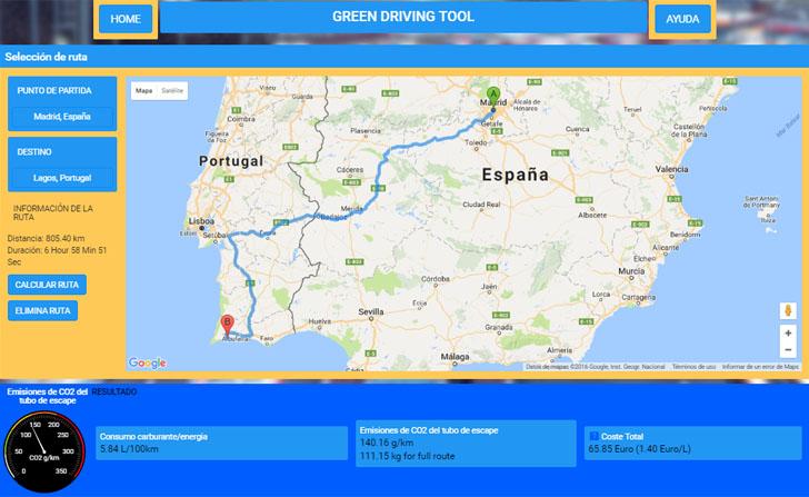 La Comisión Europea ha lanzado una aplicación que calcula las emisiones de CO2 de un coche en un viaje determinado. Ejemplo de cálculo de la aplicación con un mapa de la ruta