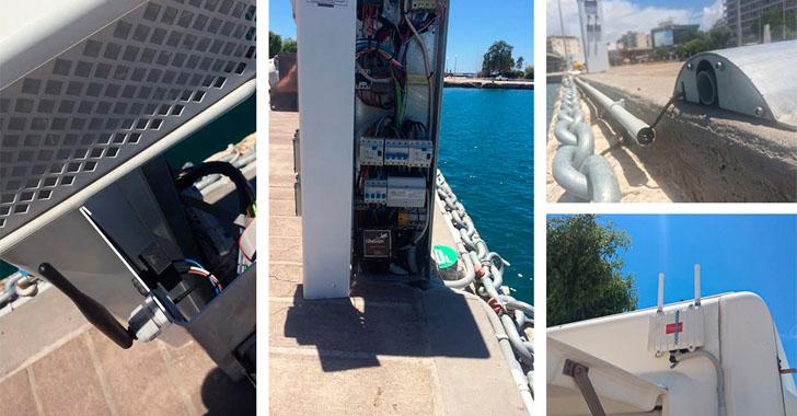 Una red inalámbrica de nodos para monitorizar la Marina de Patras. Ubicación de sensores
