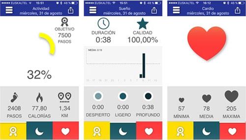 La aplicación permite monitorizar en el teléfono inteligente toda la actividad física y los datos recogidos por weareables