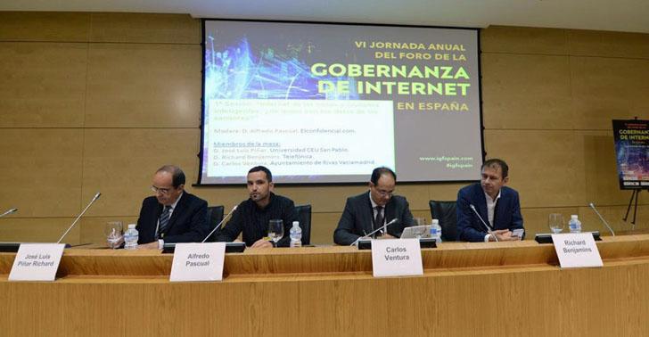 la VI Jornada del Foro de Gobernanza en Internet se celebró en Madrid los días 13 y 14 de octubre. Mesa centrada en IoT y ciudades inteligentes