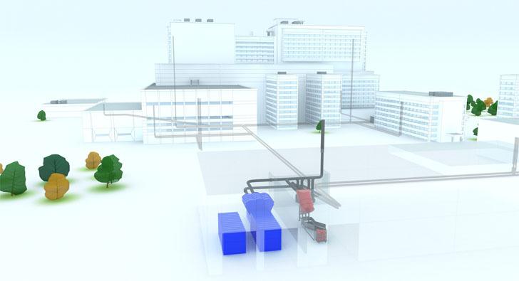 Un sistema de tuberías para gestionar los residuos en hospitales. Esquema del sistema de recogida neumática de residuos
