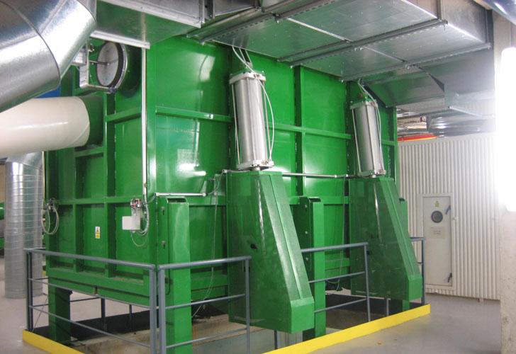 Un sistema de tuberías para gestionar los residuos en hospitales. Central de recogida del sistema neumático en el Hospital de San Pau