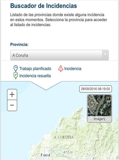 Captura de la interfaz de la aplicación para consultar inicidencias eléctricas