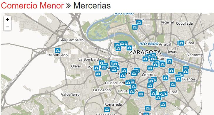 Un mapa digital permite conocer el pequeño comercio de Zaragoza. Ejemplo de búsqueda de comercio menor en el mapa