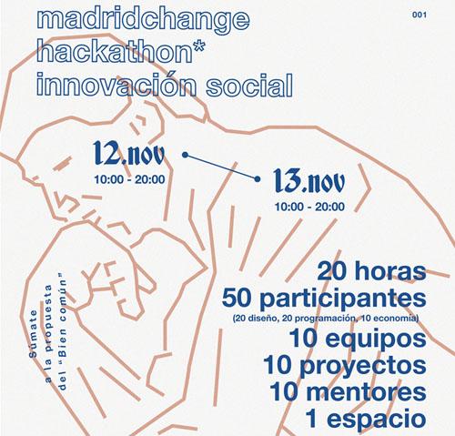 Cartel informativo del Hackathon Madrid Change