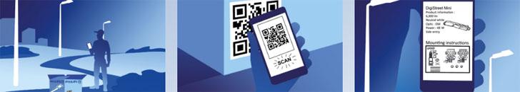 Un código QR permite la gestión inteligente del alumbrado público. Funcionamiento de Philips Service Tag
