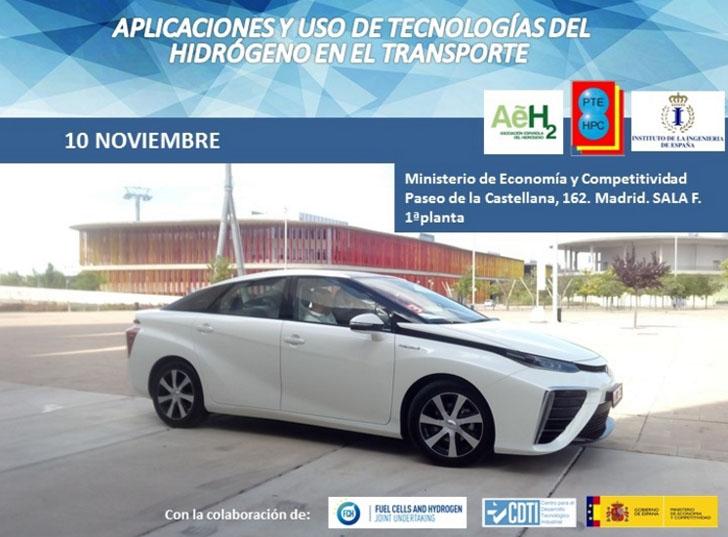 Cartel de la Jornada sobre Aplicaciones y uso de tecnologías del hidrógeno en el transporte