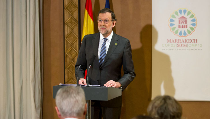 El Gobierno pondrá en marcha una Ley de Cambio Climático. Mariano Rajoy en su comparecencia en Marrakech