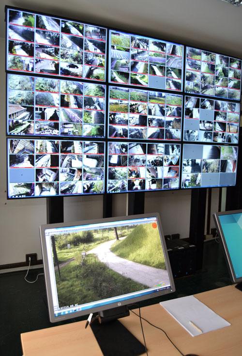 Tecnología de videovigilancia para el legado arqueológico de Pompeya. Pantalla de control de cámaras