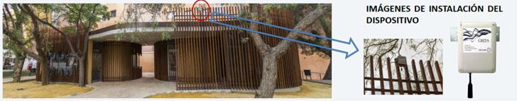 Fotografía de aula vecinal donde se ha instalado puerta de enlace, servidor y sensores sísmicos y de molestia de ruido. Ubicación del sensor acústico externo y detalla del mismo