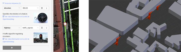 """Simulador para ciudades inteligentes. A la izquierda edición de las etiquetas con iD (editor del navegador). A la derecha área en Blender en la que se han importado """"semáforos"""" (representados aquí por una flecha para que se vea más claramente su orientación)"""
