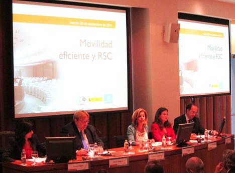 Ana Botella, delegada de Medio Ambiente y Movilidad del Ayuntamiento de Madrid, durante su intervención