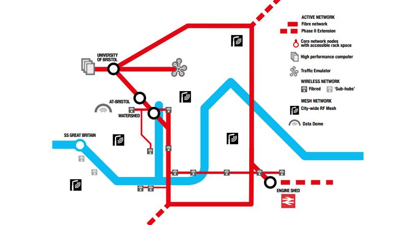 Mapa sobre el despliegue de redes digitales en el centro de Bristol para ser un laboratorio urbano.