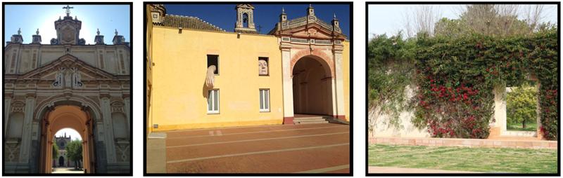 Fachada de entrada, entrada principal y parte del jardín del Monasterio de la Cartuja de Sevilla elegidos para el caso aplicado de docencia con realidad aumentada.