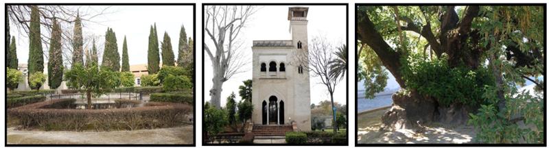 Distintos espacios de los Jardines del Monasterio de la Cartuja de Sevilla que forman parte del proyecto de unión entre patrimonio urbano, nuevas tecnologías y educación.