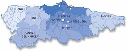 Mapa de Asturias con los centros SAT. Red de centros de acompañamiento tecnológico e innovación para el desarrollo económico.